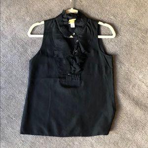 J crew silk black ruffle neck Blouse Sz. 0